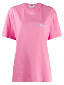 MSGM oversized logo-embroidered T-shirt - PINK