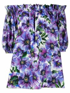 Dolce & Gabbana floral print off-shoulder blouse - PURPLE