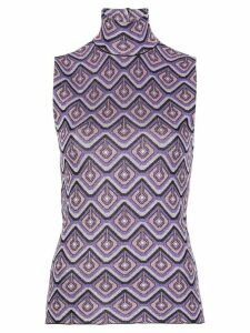 Paco Rabanne jacquard high-neck knitted top - PURPLE