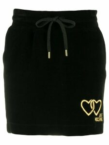 Love Moschino velour drawstring skirt - Black