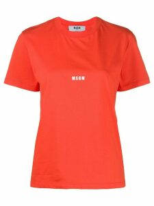 MSGM logo print cotton T-shirt - ORANGE