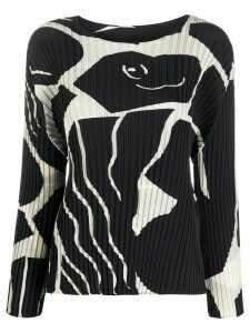 Issey Miyake graphic patterned pleated blouse - Black