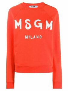 MSGM logo print sweatshirt - ORANGE