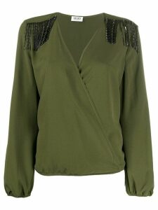 LIU JO long-sleeve wrap blouse - Green