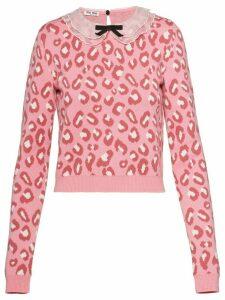 Miu Miu leopard print jumper - PINK