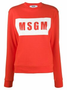 MSGM box logo-print cotton sweatshirt - ORANGE