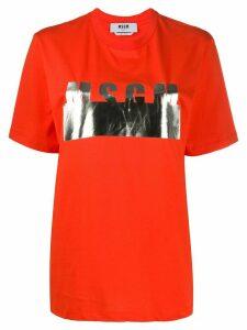 MSGM metallic logo cotton T-shirt - ORANGE