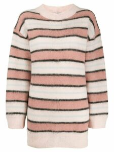 Acne Studios oversized mock neck striped jumper - NEUTRALS