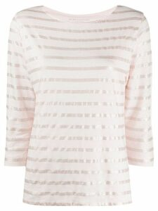 Majestic Filatures metallic breton striped linen blend T-shirt - PINK