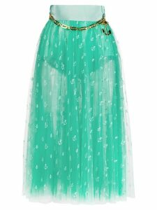 Elisabetta Franchi embroidered flared skirt - Blue