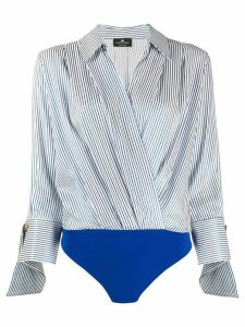 Elisabetta Franchi striped wrap shirt body - White