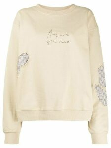 Acne Studios logo print patch detail sweatshirt - NEUTRALS