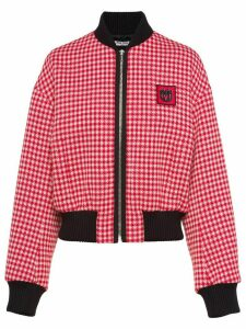 Miu Miu gingham check jersey jacket - Red