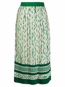 Elisabetta Franchi chainlink print box pleat skirt - NEUTRALS