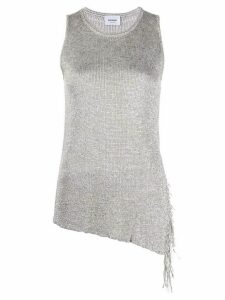 Dondup metallic asymmetric tasseled top - SILVER
