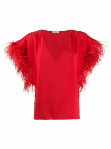 P.A.R.O.S.H. oversized feather sleeved top - Red