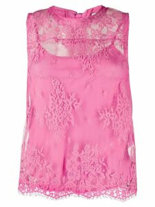 LIU JO lace-embroidered fitted top - PINK