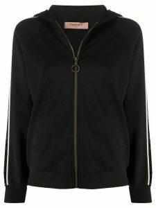 Twin-Set sequin stripe hoodie - Black