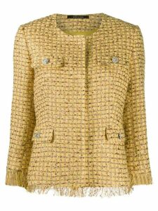Tagliatore three-quarter length tweed jacket - Yellow