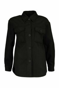 Womens Utility Pocket Wool Look Shirt Jacket - black - 16, Black