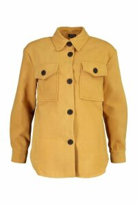 Womens Utility Pocket Wool Look Shirt Jacket - beige - 16, Beige