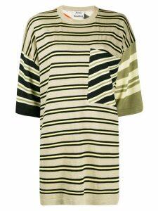Acne Studios oversized multi-stripe T-shirt - NEUTRALS