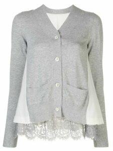 Sacai contrast panels cardigan - Grey