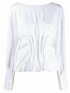 A.W.A.K.E. Mode gathered poplin blouse - White