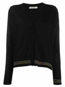 Dorothee Schumacher v-neck stripe detail cardigan - Black