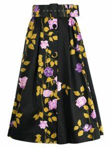MSGM floral-print belted skirt - Black