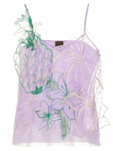 Pinko embroidered pineapple detail top - PURPLE
