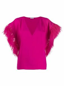 P.A.R.O.S.H. oversized feather sleeved top - PINK