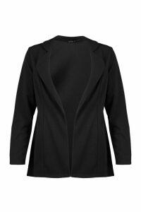 Womens Longline Pocket Blazer - black - 14, Black
