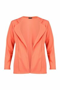 Womens Longline Pocket Blazer - Orange - 14, Orange