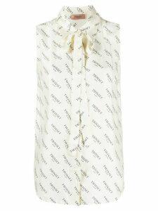 Twin-Set logo print sleeveless blouse - NEUTRALS