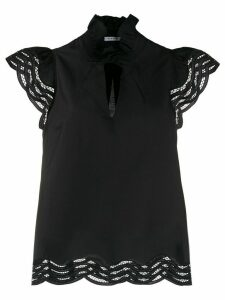 P.A.R.O.S.H. embroidered wavy details blouse - Black