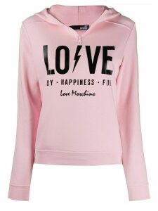 Love Moschino Love print hoodie - PINK