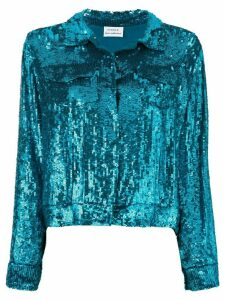 P.A.R.O.S.H. cropped sequin shirt jacket - Blue