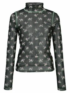 Sandy Liang Promise floral print sheer top - Black