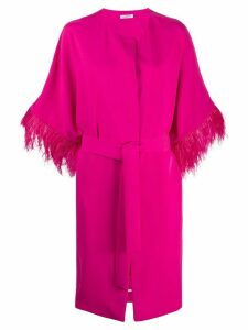 P.A.R.O.S.H. feather trimmed belted coat - PINK