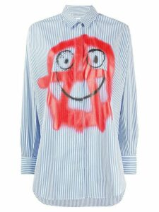 Moschino spray-print striped shirt - Blue