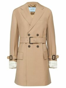 Prada Men's-style fit double-breasted coat - NEUTRALS