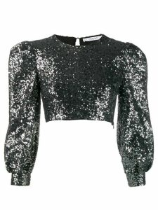 Derek Lam 10 Crosby Sofia Cropped Baby Sequin Bell Sleeve Mesh Top -