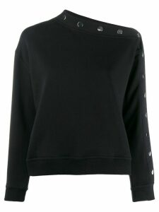 Derek Lam 10 Crosby Isadora Asymmetrical Sweatshirt Top with Snaps -