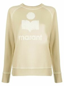 Isabel Marant Étoile distress logo jumper - NEUTRALS