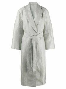 Brunello Cucinelli metallic belted coat - SILVER