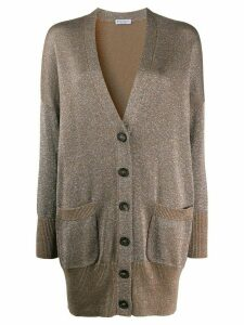 Brunello Cucinelli metallic contrast-trimmed cardigan - Brown