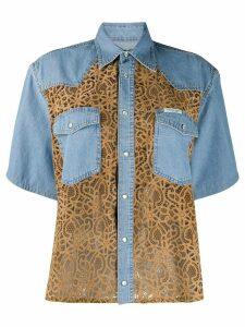 Forte Dei Marmi Couture lace panelled denim shirt - Blue
