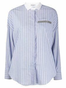 Brunello Cucinelli striped relaxed shirt - Blue
