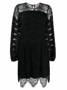 Twin-Set macramé lace insert dress - Black